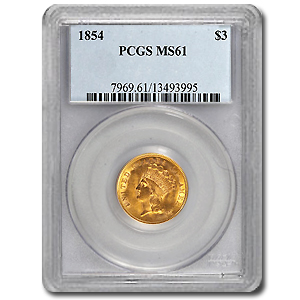 $3 Gold Princess MS-61 NGC/PCGS